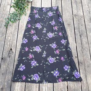 Vintage floral button front skirt